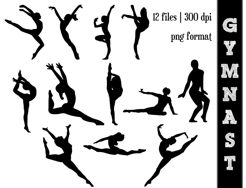 Gymnast Silhouettes Gymnastics Silhouette Gym Clipart