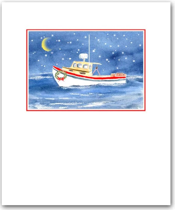 Lobster Boat Christmas Cards Set Of 10holiday By ShirleyBell