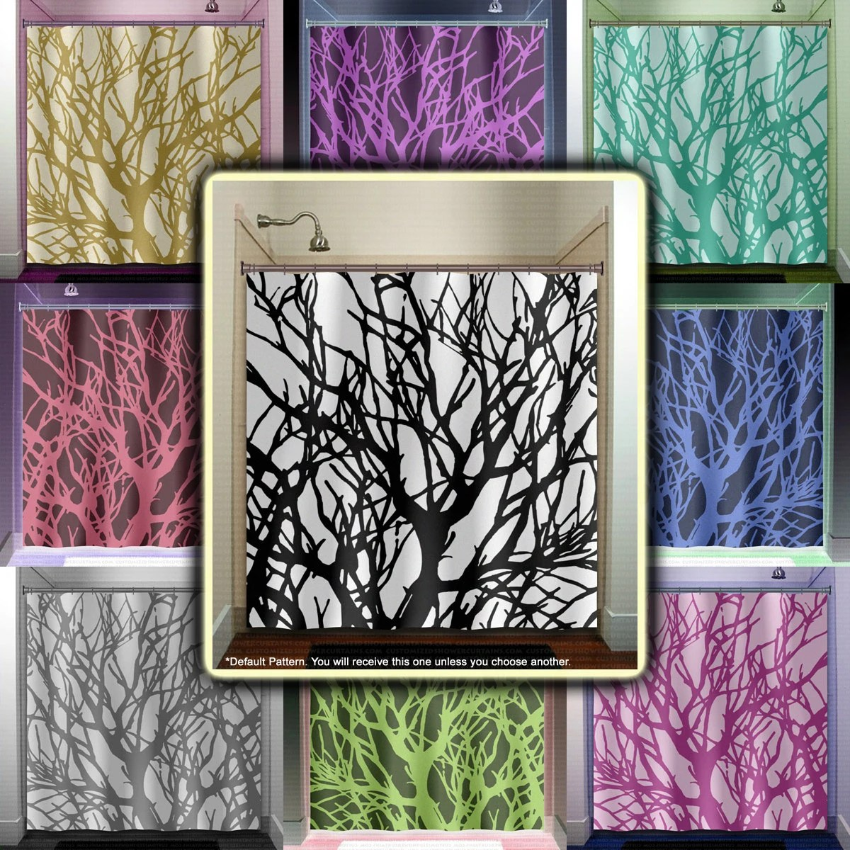 Branches Tree Branch Shower Curtain Fabric Extra Long Window