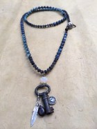 Kayanite, Angelite + Grey Quartz Gemstone Necklace with Antique Key, Feather + Heart Charms