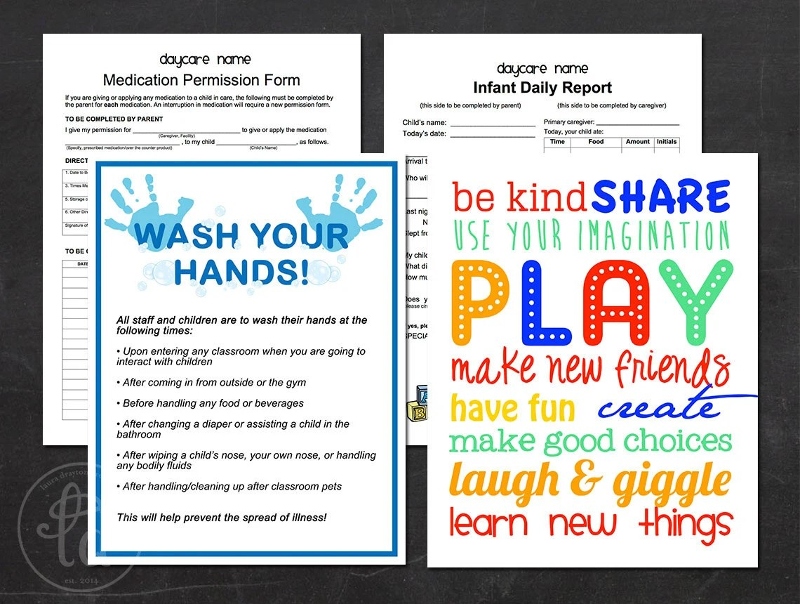 Daycare Preschool Printables Hand Washing Sign Infant