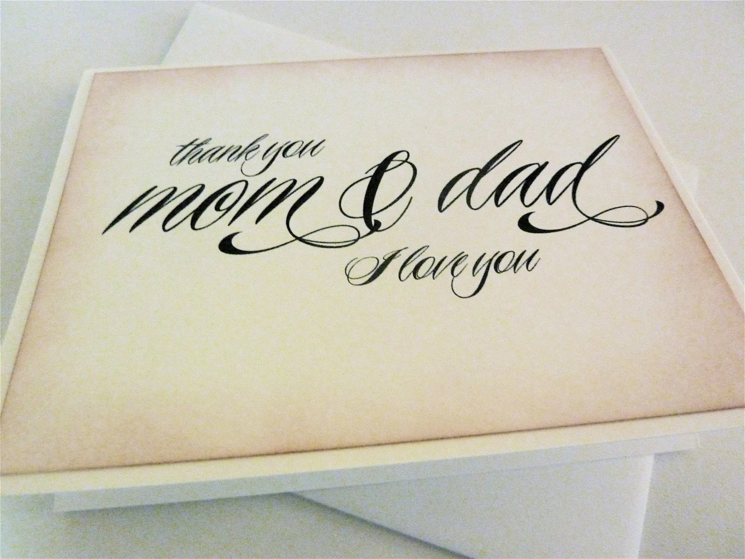 Parent Wedding Thank You Card Mom And Dad Thank You Wedding