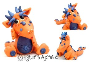 """""""Juice"""" the Polymer Clay Dragon by KatersAcres 