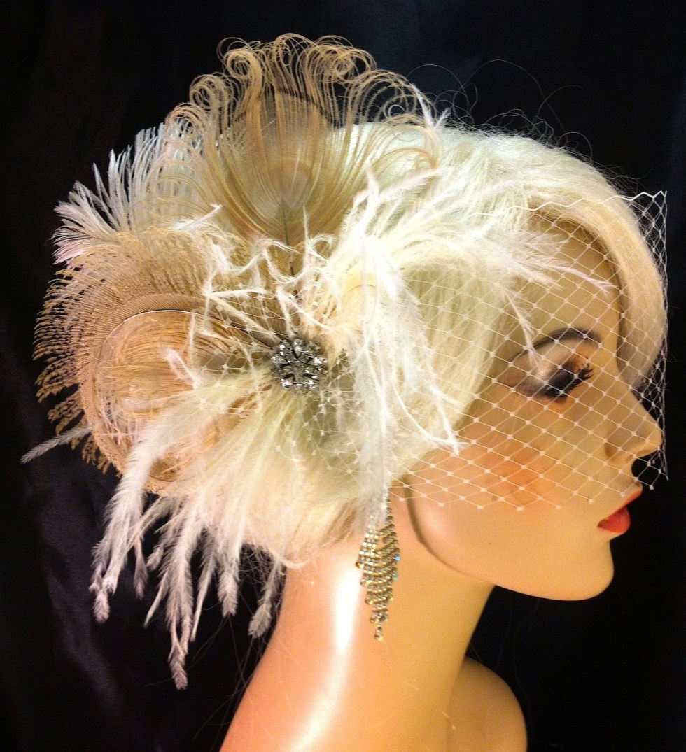 Fascinator, Feather Bridal Fascinator, Feather Fascinator, Bridal Fascinator, Wedding Veil, Fascinator, Ivory/Champagne - Fancy Peacock
