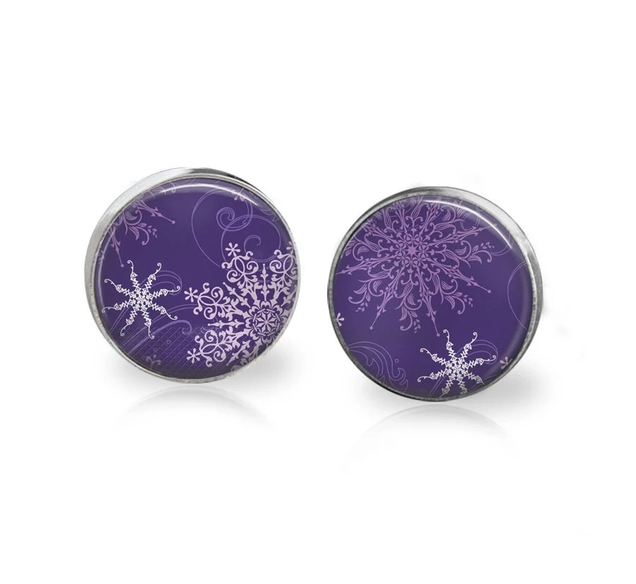Purple and White Christmas Snowflake Earrings Snow Flake Jewelry Glass Xmas Earring Xmas Gift Holiday Gift for Mom Sister Grandma Girlfriend - memoryvendor