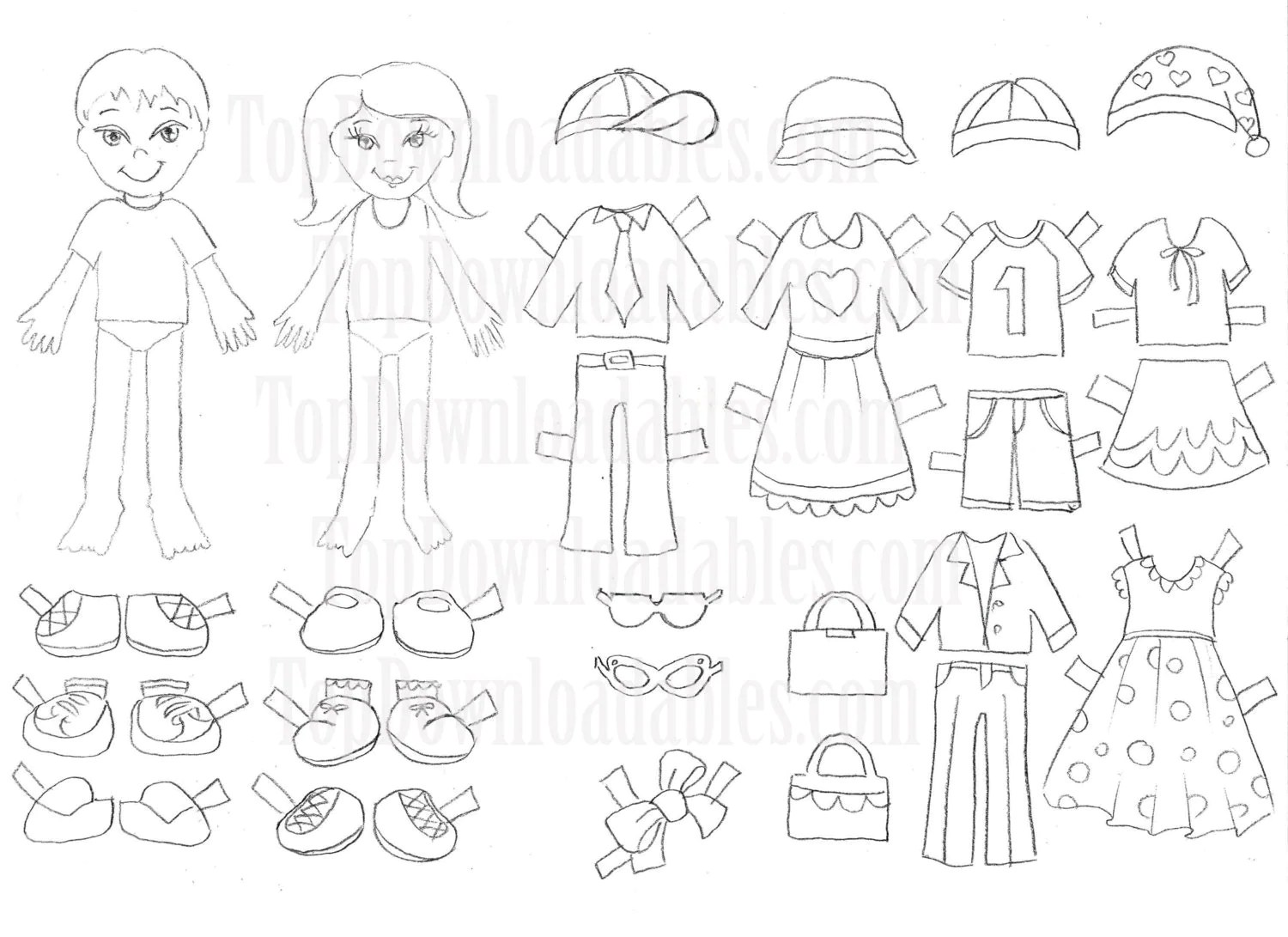 Coloring Paper Doll Kids Sheet Digital Template Printable Art