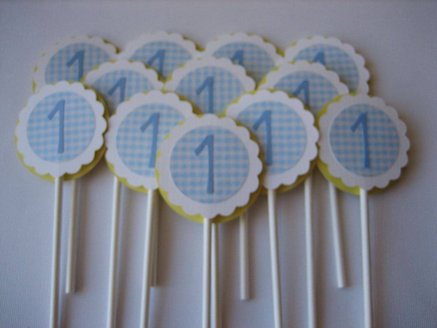 Cupcake Toppers Baby Boy 1st Birthday Cupcake Toppers Blue