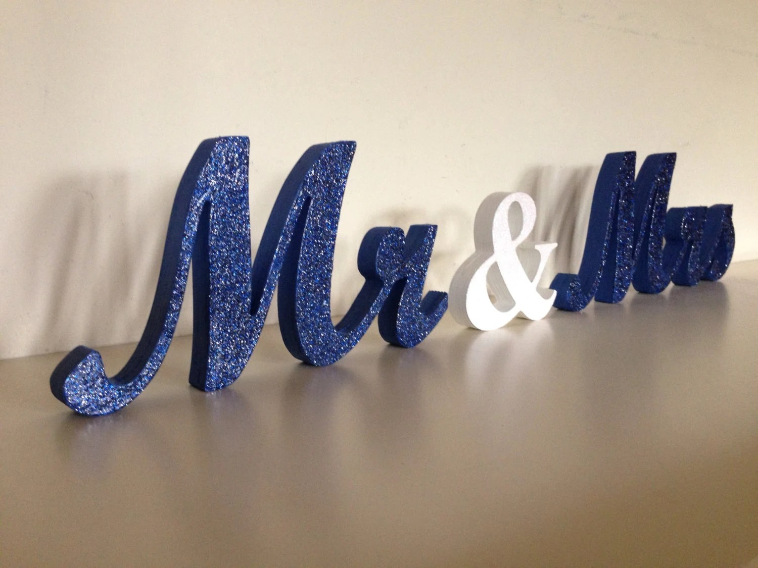 Blue Glitter Wedding Sign Mr And Mrs Wooden Letters By SunFla