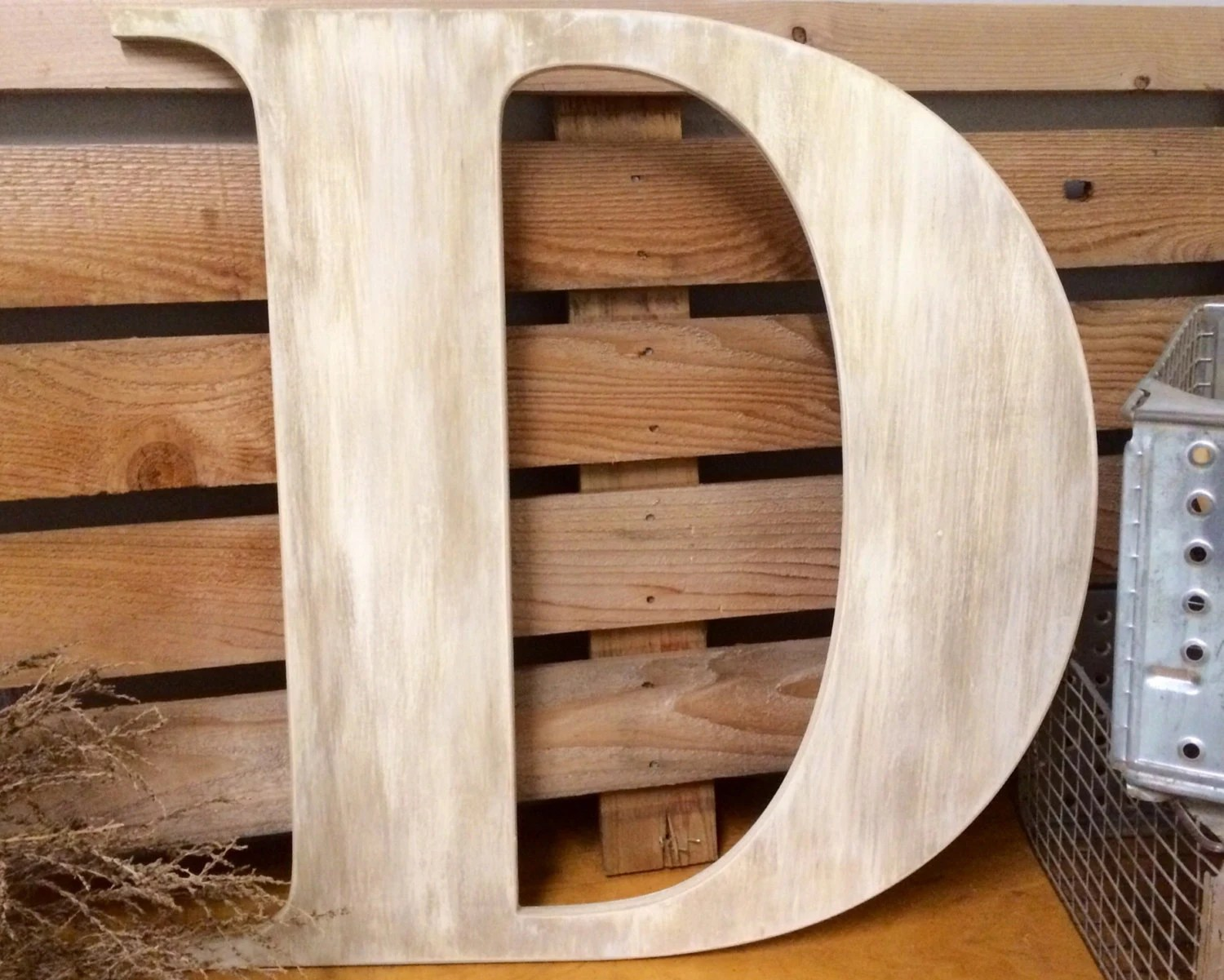 Large Wooden Guest Book Letter D 36 Painted Rustic