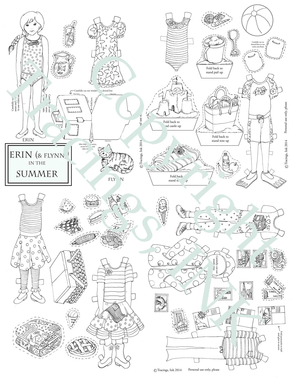Paper Doll Set Printable Erin In The Summer Black