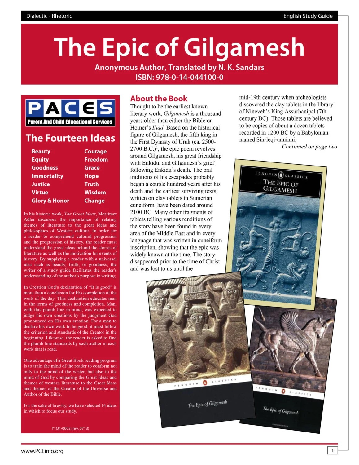 The Epic Of Gilgamesh Study Guide With Answer By