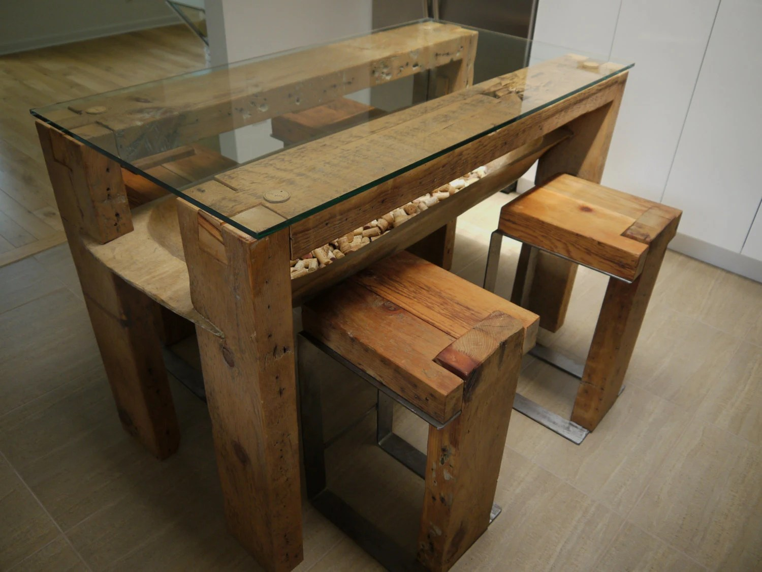 Reclaimed Wood Dining Table. Glass Top. Reclaimed Wood Kitchen