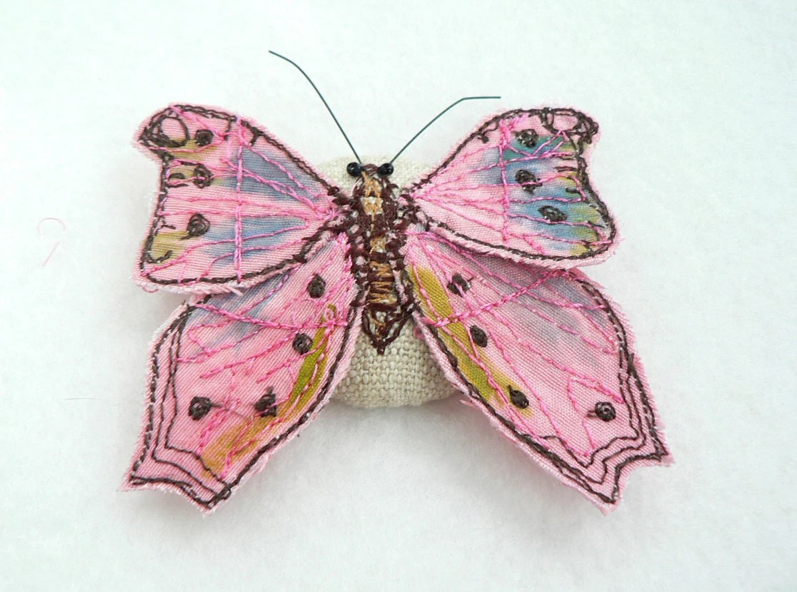 3D butterfly pink machine embroidery on silk Valentine gift - WhenArtMetCloth
