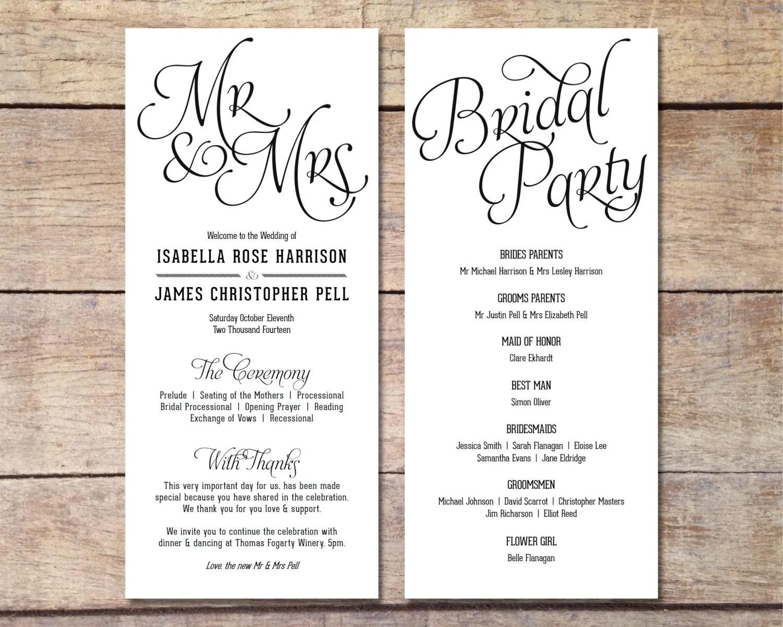 Simple Wedding Program Customizable Elegant Design Simple Classic Wedding Black And