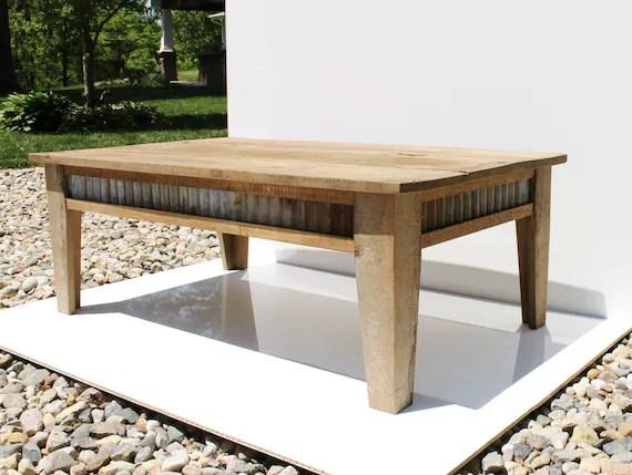 Rustic Coffee Table Reclaimed Barn Wood W/Barn Tin By Keeriah