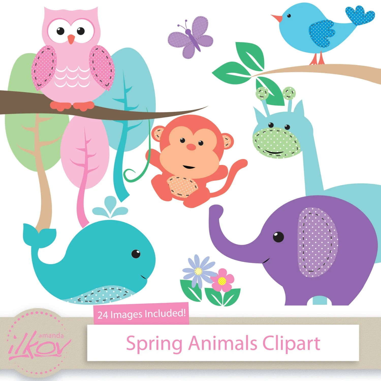 Spring Baby Animals Clipart For Digital Scrapbooking