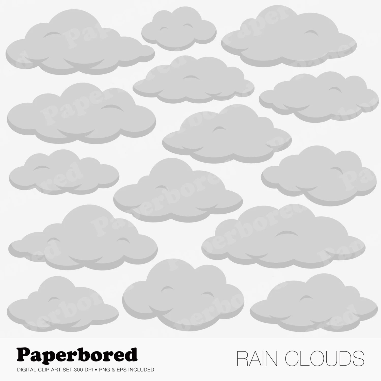Rain Clouds Clip Art Cloud Clip Art Set Instant