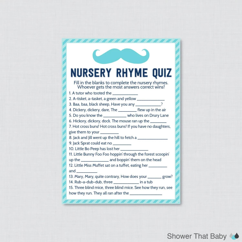 Mustache Baby Shower Nursery Rhyme Quiz Baby Shower Game In