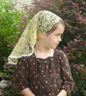 Golden Chalice Yellow, Girl's Kerchief Style Veil with Scalloped Edge and White, Venice Trim