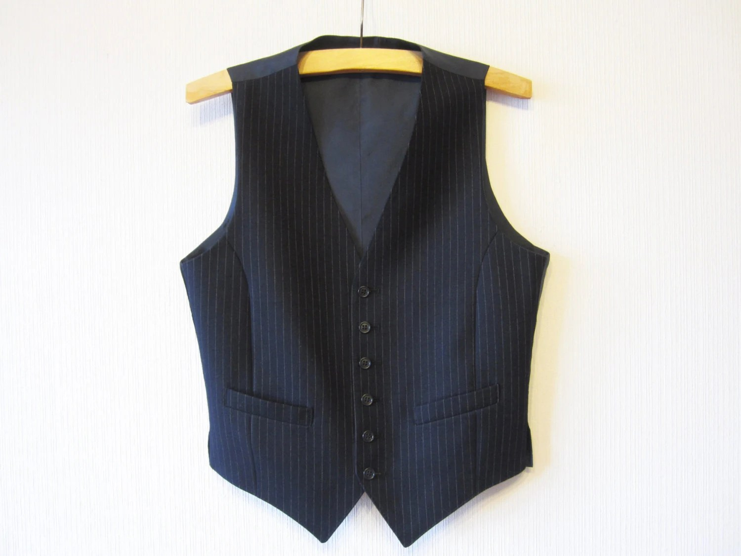 Steampunk Mens Waistcoat Navy Blue Striped Gentlemen's Vest Formal Edwardian Victorian Renaissance Medium - VintageDreamBox