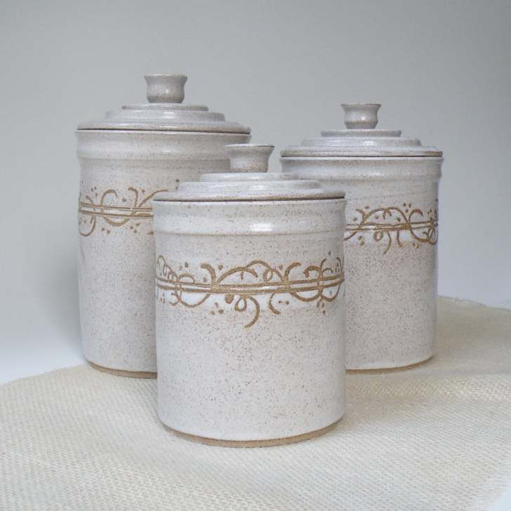 White Kitchen Canisters Set Made Order Storage
