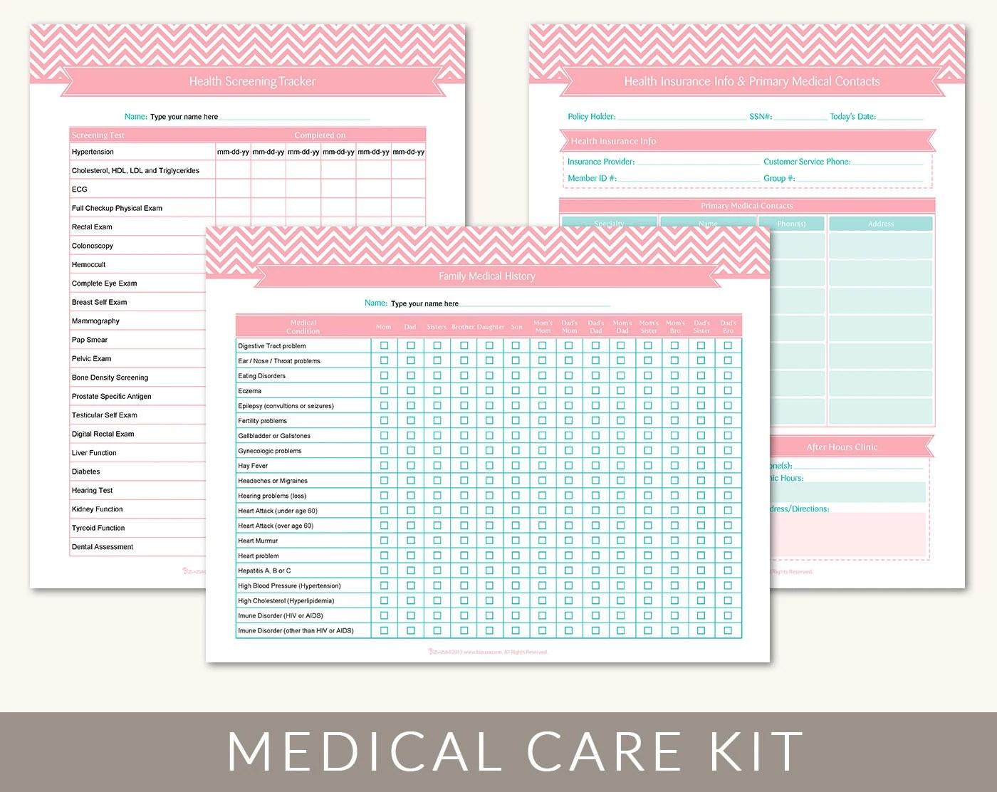 Medical Information Kit Organizing Printable Templates 9