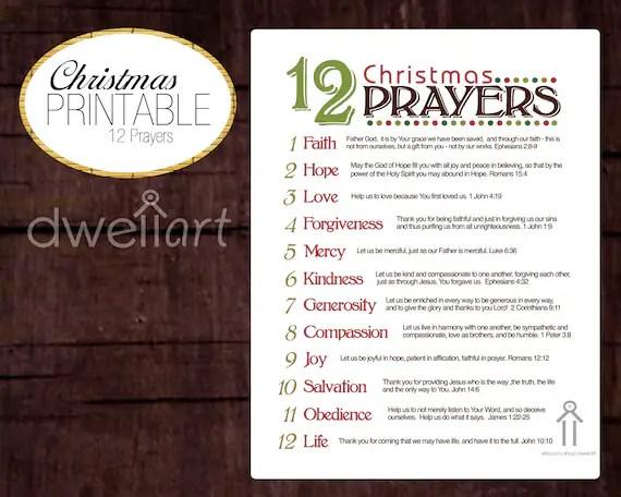 12 Christmas Prayers Printable 8X10 Christian Wall By