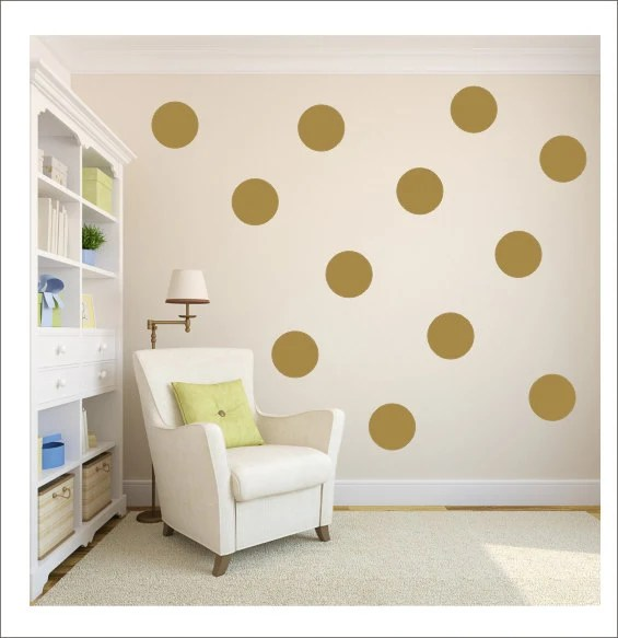 Gold Polka Dots Vinyl Wall Decals Gold Decals Gold Dot Stickers Polka Dot Wall Vinyl Decor Housewares