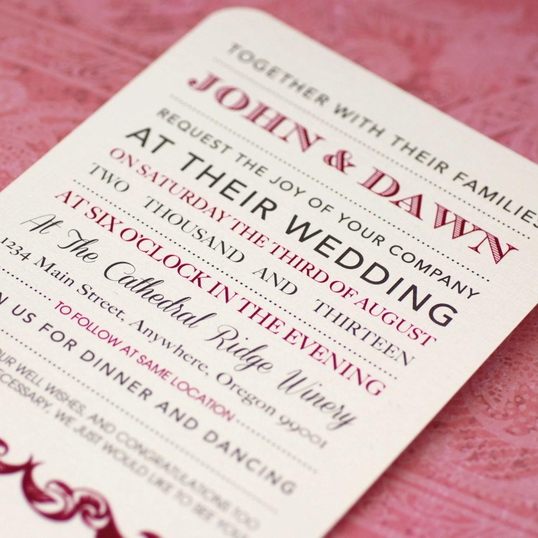 Letterpress Like Custom Elegant Wedding Invitations
