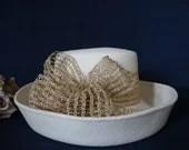 Cream Felt Hat with Gold ...