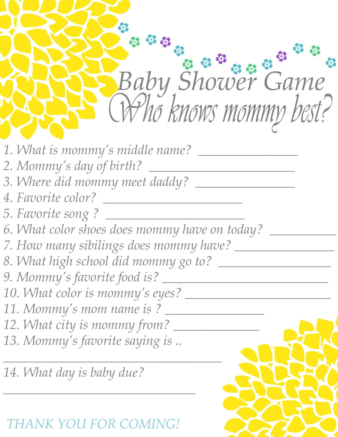 Baby Shower Game Printable Instant Download Who Know S
