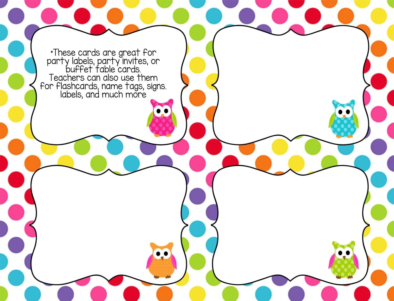 Printable Classroom Task Cards Rainbow Owl Theme