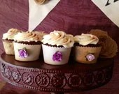 Cupcake Liner Cups~ Rustic Cupcake Wraps~ Orchid Purple Rose Shabby Chic Wedding Decor- Unique Cupcake cup for bridal shower, party, Easter - ClearSkyDesigns