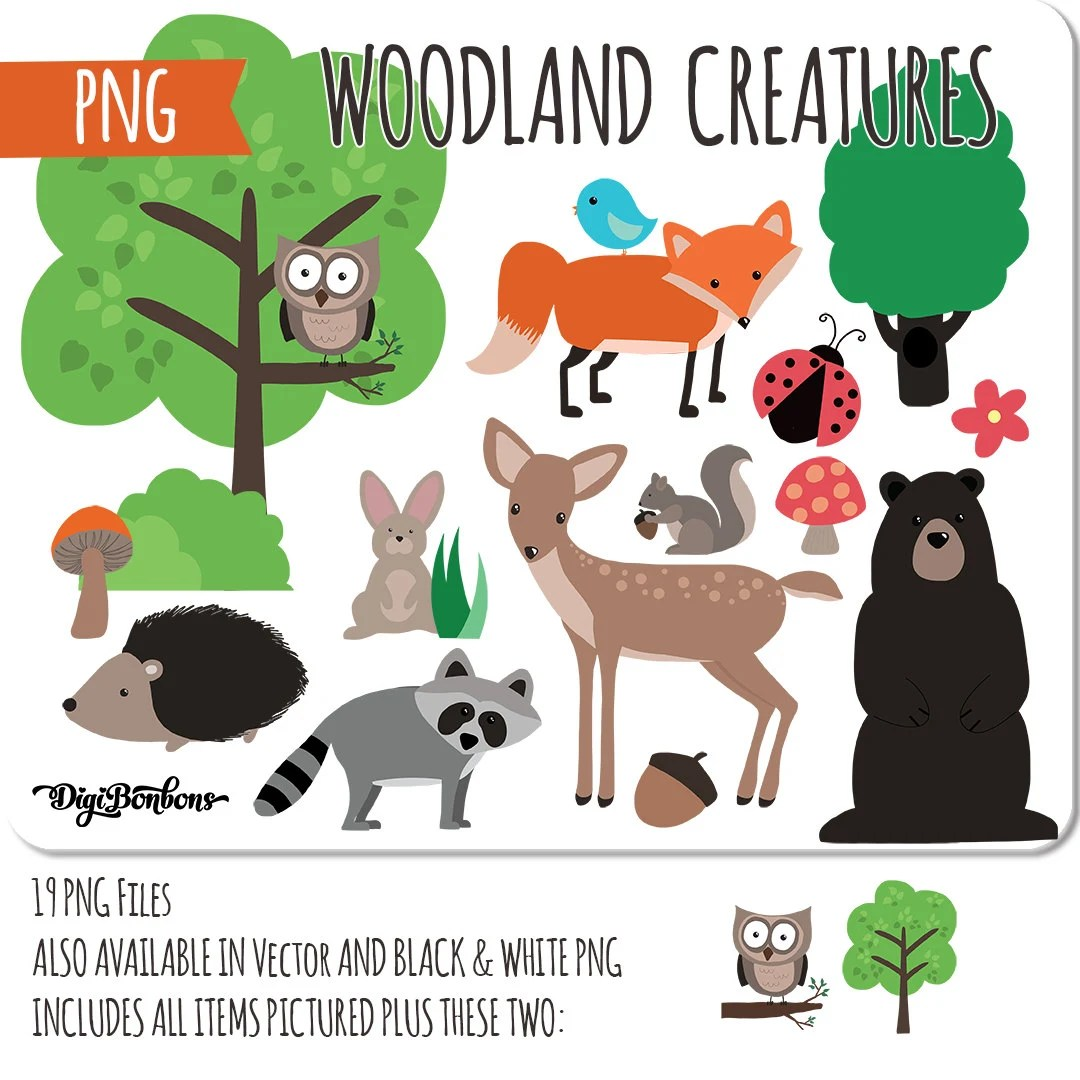 displaying 20 gt images for woodland animals clip art