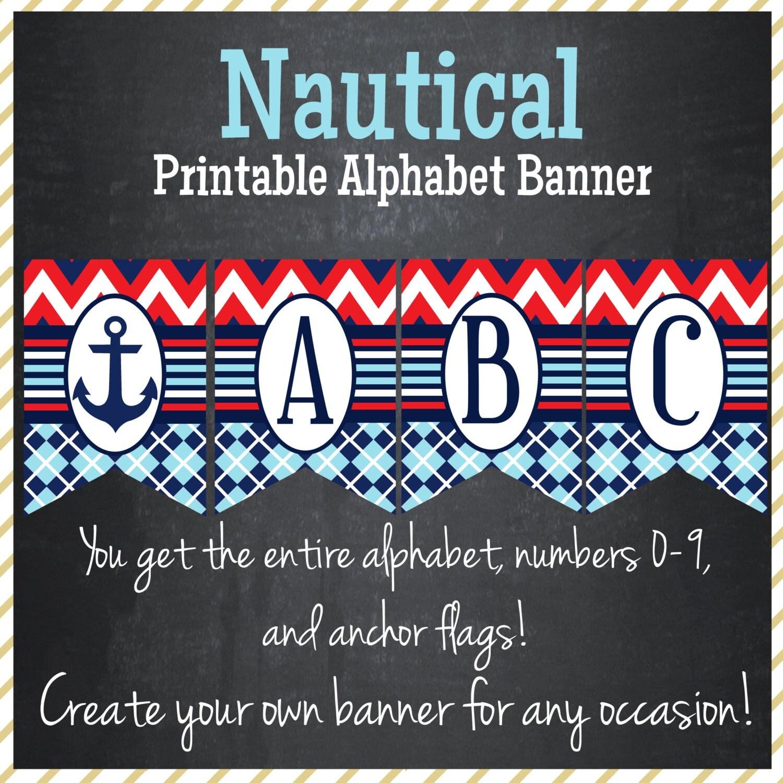 Nautical Printable Alphabet Banner Instant Download