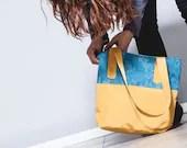 Vegan Women Handbag, Blue yellow floral printed - TahelSadot