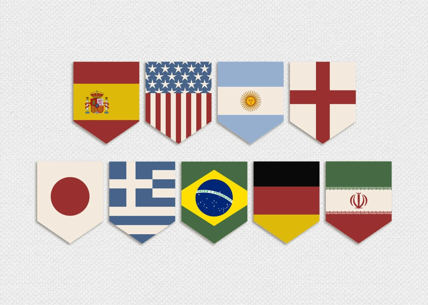 Items Similar To Printable World Cup Country Flags Pennant Banner Vintage World Cup Party