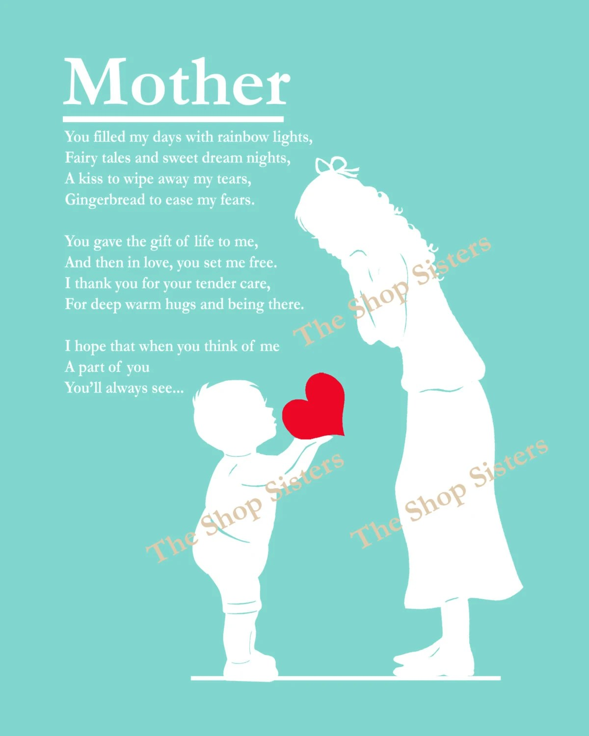 Mother And Son Mother S Day Poem Heart Silhouette Coral 8