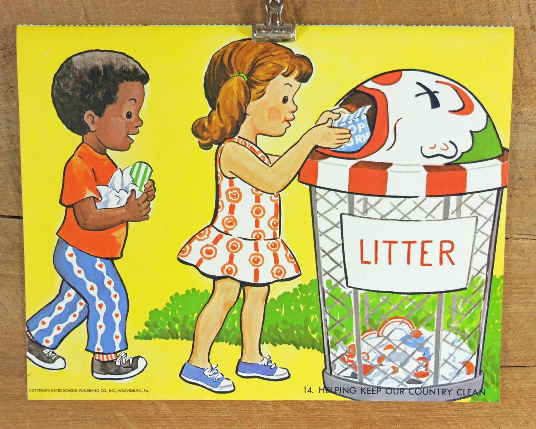 Vintage School Poster No Littering Trash Can