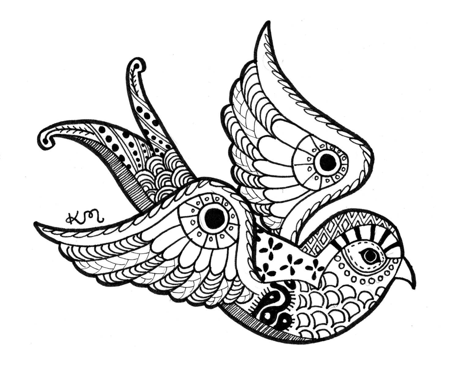 Swallow Ink Drawing Print Abstract Tribal Aztec