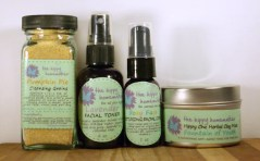 Natural Skin Care Gift Set- Cleansing Grains, Toner, Moisturizing Serum, & Herbal Clay Mask - Eco Friendly packaging