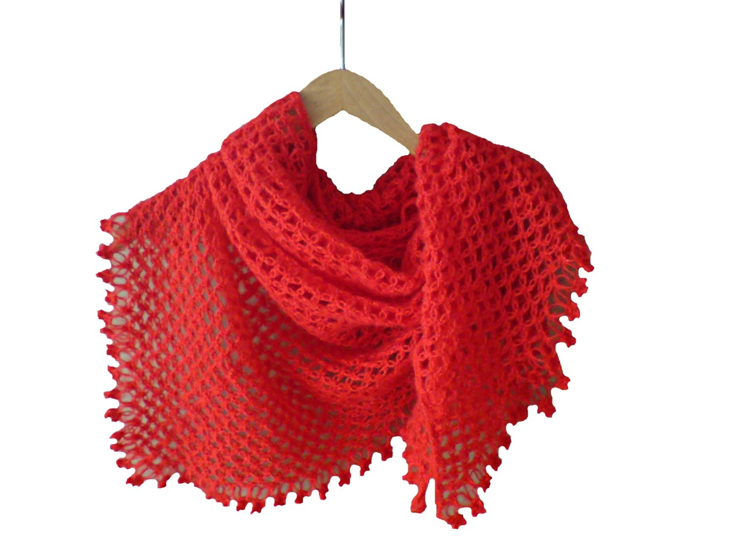 Shawl, crochet shawl for women, handmade, made of mohair. Ready to ship: Red, Green, Purple, Pink, Blue - woolopia