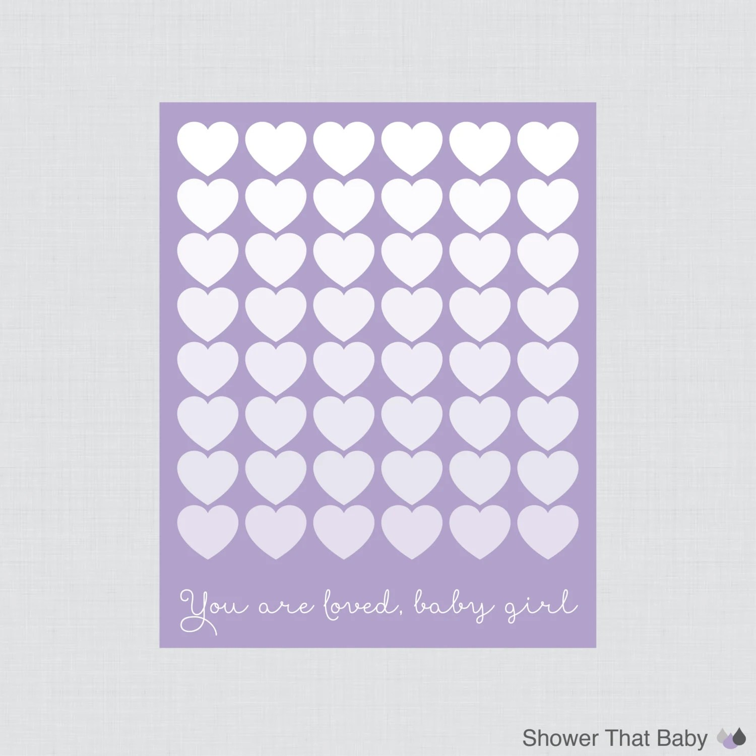 Baby Shower Printable Guest Book With Purple Hearts Instant