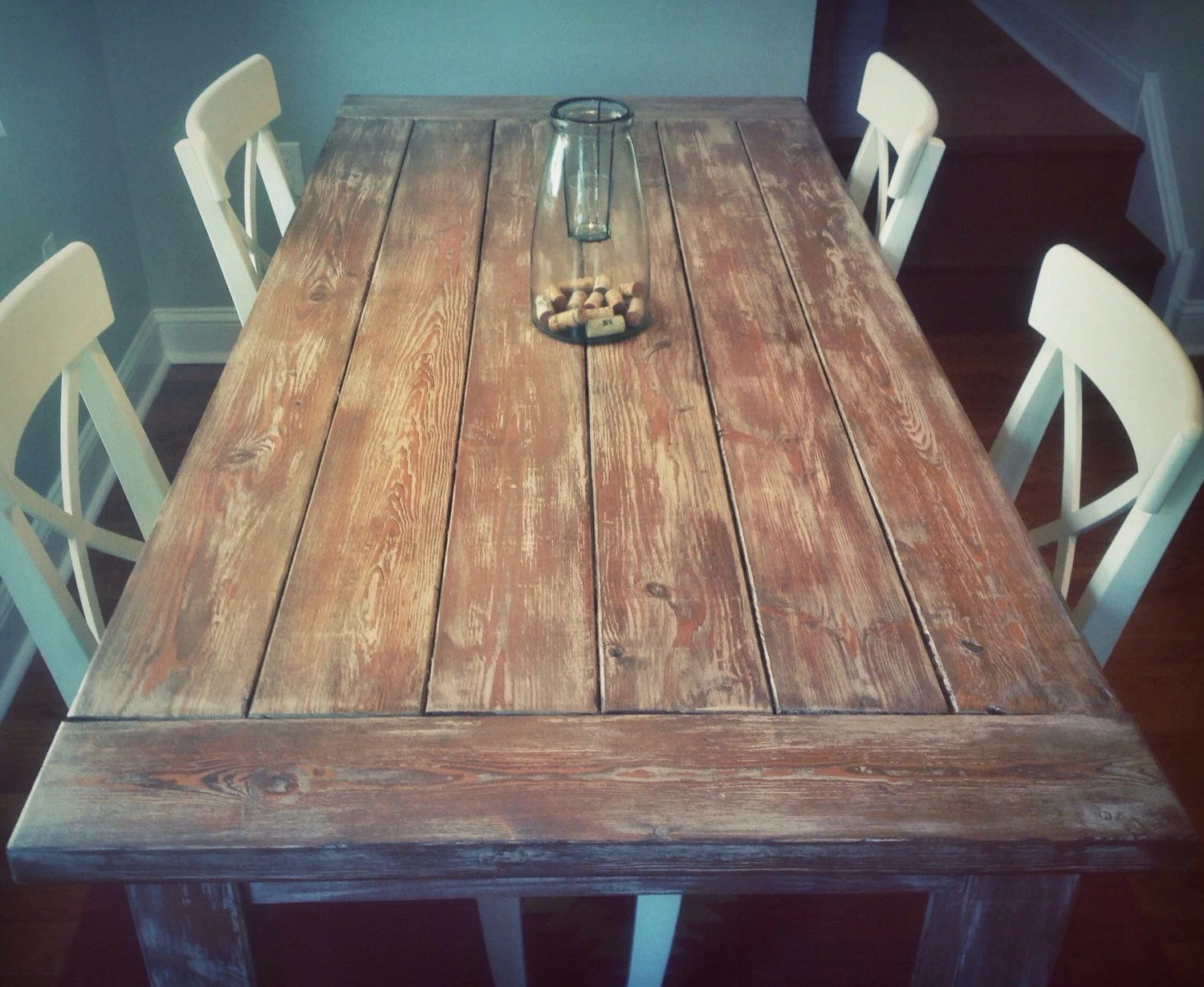 Weathered Rustic Farmhouse Style Dining Table