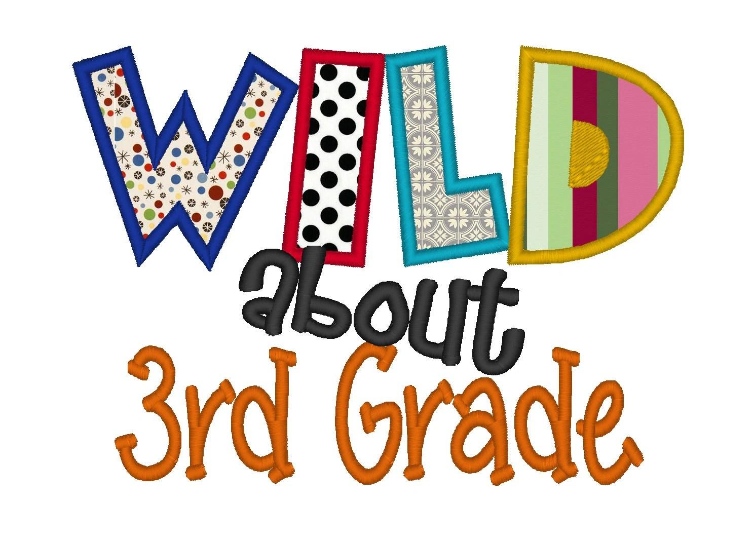 Wild About 3rd Grade Applique Instant Download Machine