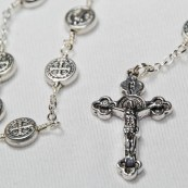 Deliver us from Evil    St Benedict Orthodox Jubilee Chaplet - Exorcism Victorian Gothic  Sterling Silver plate