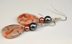Redline Marble Stone Teardrop Earrings