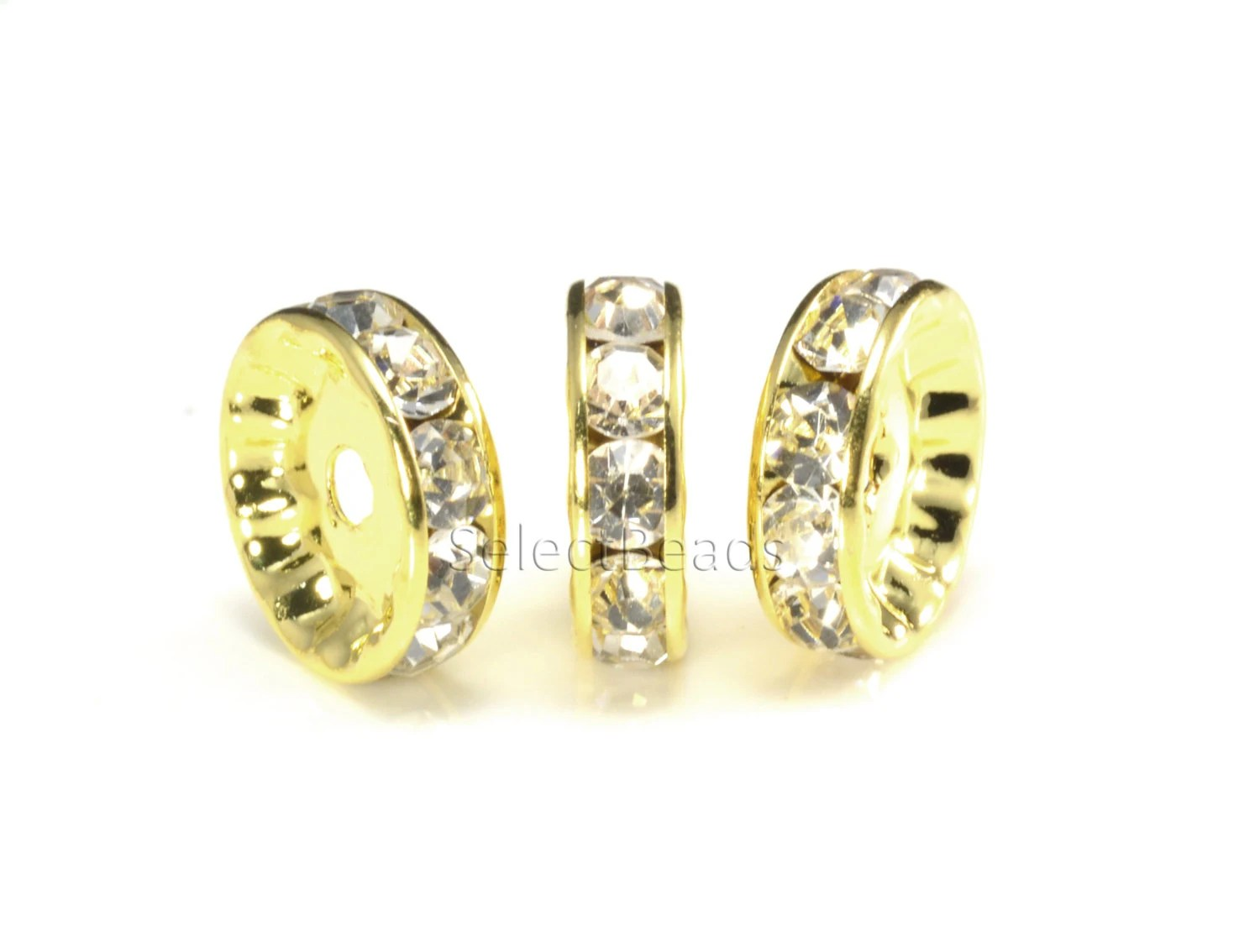 Rhinestone copper spacer bead yellow gold plated white for Craft and jewelry supplies