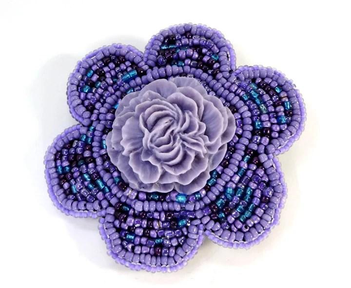 Purple Peacock Flower Hair Clip - MegansBeadedDesigns