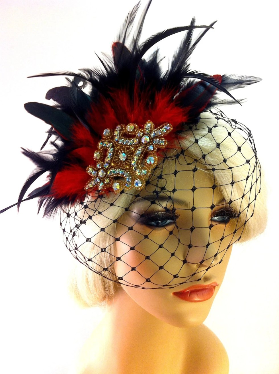 Fascinator, Great Gatsby, 1920s Flapper Headpiece, Feather Fascinator, Gold Beaded Art Deco, Gatsby Headpiece, 1920s Headpiece, Veil